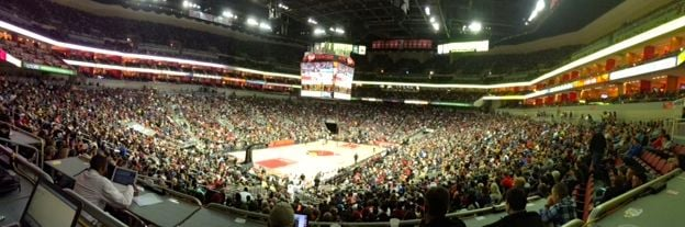 An NBA exhibition game brought more than 20,000 fans to the KFC Yum! Center.