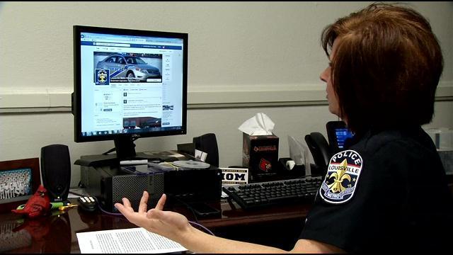 Officer Carey Klain illustrates the uses of social media for LMPD.