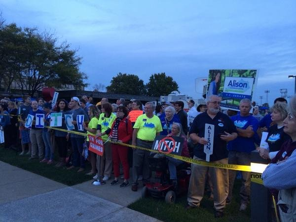 Grimes supporters gather outside KET before the debate.