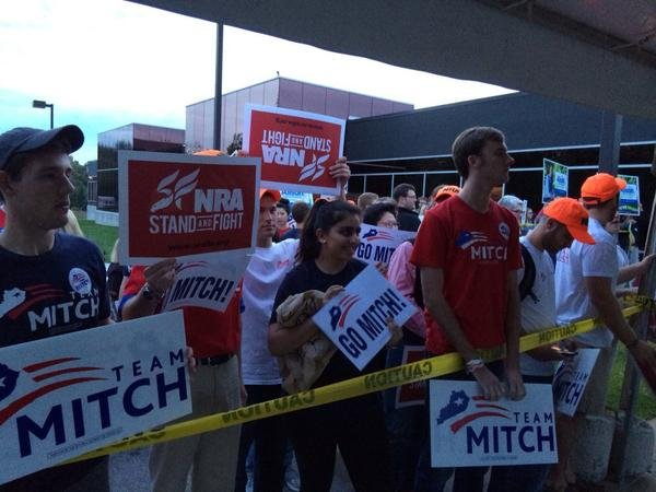 McConnell supporters gather outside KET ahead of the debate.