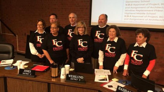 The school board wore Fern Creek Proud shirts at the meeting Monday night.