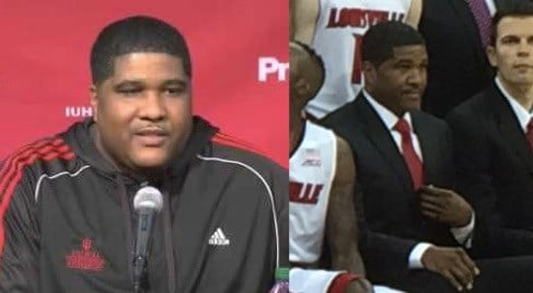 Kenny Johnson, before and after. Left, the day he was hired at Louisville, right, during the team picture on Sunday.