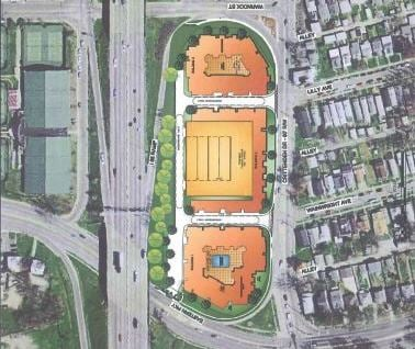 Aerial rendering of student housing complex