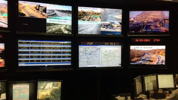 The control center where TRIMARC monitors traffic cameras all over Louisville and Southern Indiana.