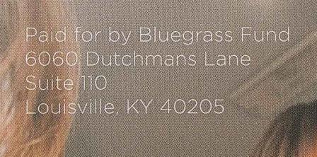 Corner of ad identifies Bluegrass Fund as sponsor