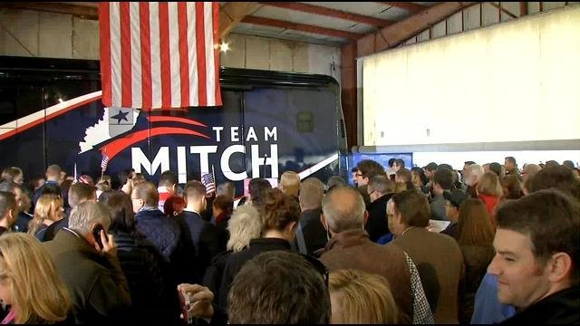 McConnell supporters gather in a hangar at Bowman Field as the Republican Senator made his final pitch before Election Day.