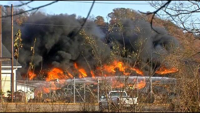 The fire was reported just after 10 a.m. at Liberty Tire Recycling Center in southwest Louisville.