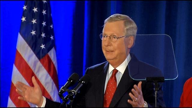 McConnell delivers a victory speech in Louisville after winning his re-election to the U.S. Senate.