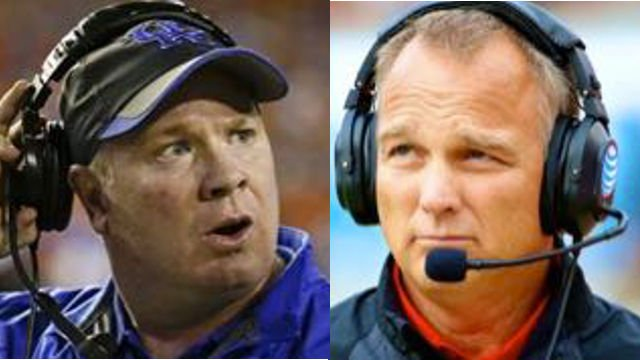Mark Stoops (left) needs one more win to make Kentucky bowl eligible, and the Wildcats get that win Saturday against Mark Richt and Georgia.
