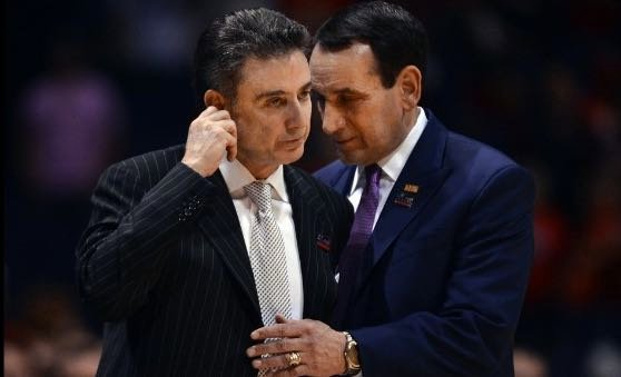 Rick Pitino (left) and Mike Krzyzewski and two of four Hall of Fame basketball coaches in the ACC.