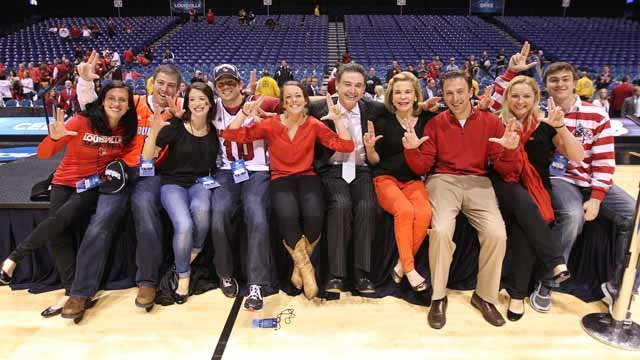 The Pitino family shared a moment following the Cards' 2013 victory over Duke, which sent UofL to the Final Four and the eventual NCAA Title — (from left) Bethany (Michael's wife), Michael, Brucie (Christopher's wife), Christopher, Jacqueline, Rick, Joann