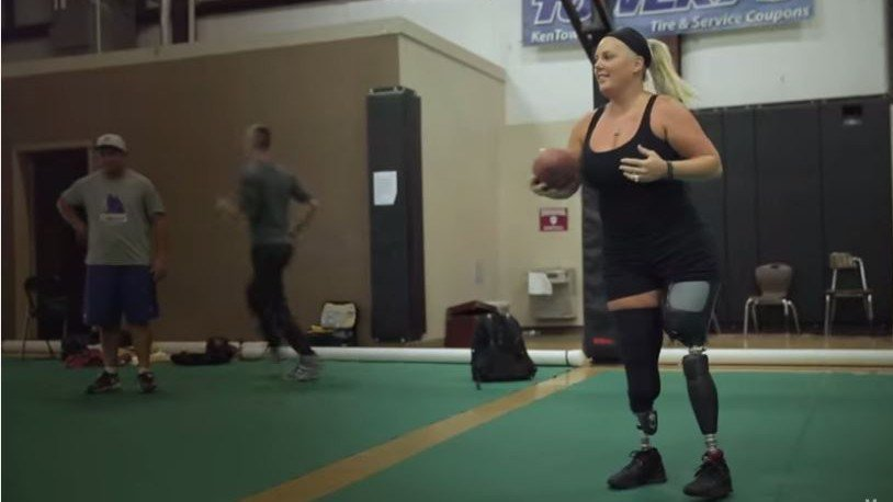 Stephanie Decker throws a football in a video for foundation on the L'Oreal Paris 'Women of Worth' contest website. (Courtesy: L'Oreal Paris)