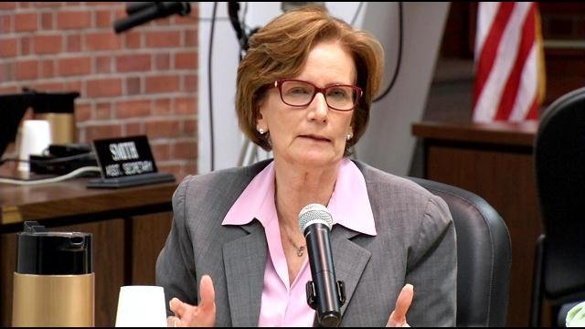 JCPS Superintendent Donna Hargens speaks at the school board meeting Monday night.