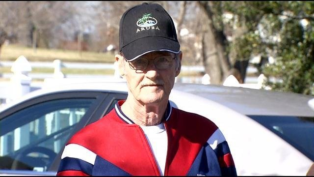 Julius Hatfield outside his Bullitt Co. home last month, as officers served a search warrant