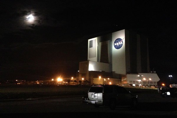 The Vehicle Assembly Building at NASA's Kennedy Space Center on the morning of the launch.