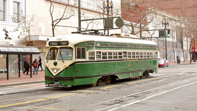 A Louisville Railway Company streetcar now in service in San Francisco. The cars were built in the 40's but never put into service in the city. (Photo by Jay Galvin)