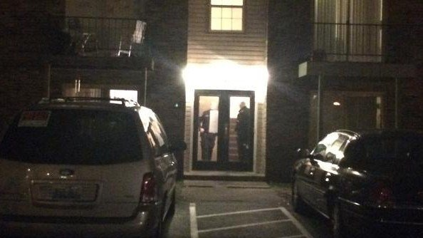 Police say the shooting happened in the stairwell of this apartment complex.