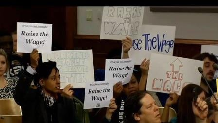 Supporters of $10.10 minimum wage at Louisville Metro Council, Dec. 15, 2014