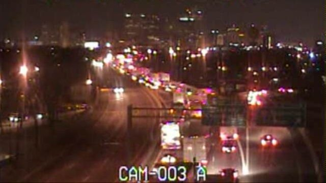 A Trimarc image shows traffic backed up behind the shutdown on I-65 North near St. Catherine Street.