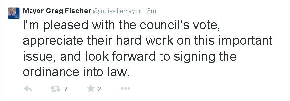 Louisville Mayor Greg Fischer said via Twitter Thursday night he would sign the ordinance into law.