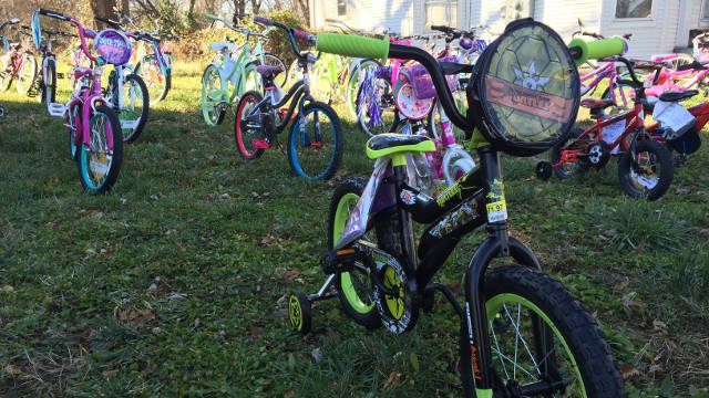 Donated bikes to be given away to children affected by domestic violence.