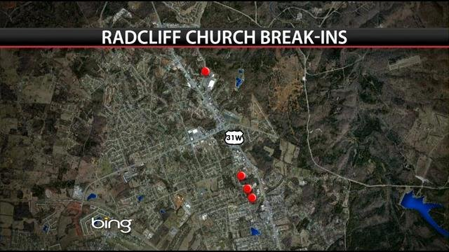 This map shows the locations of the churches that were broken into.