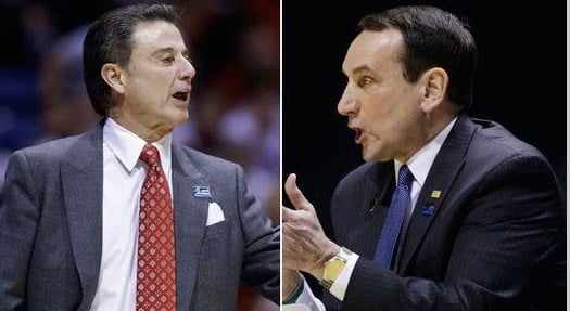Mike Krzyzewski (right) could have a chance to win his 1,000th game against Rick Pitino at Louisville Jan. 17.