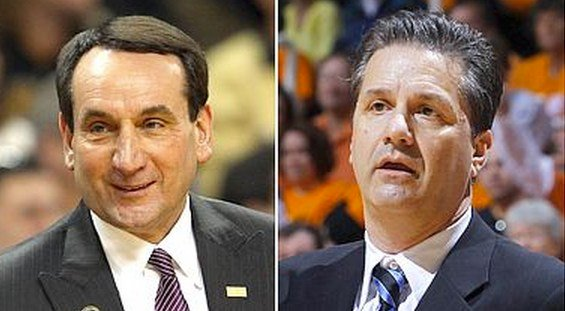 Will Duke, coached by Mike Krzyzewski (left), steal any first-place votes from Kentucky after the Wildcats' close call with Ole Miss?