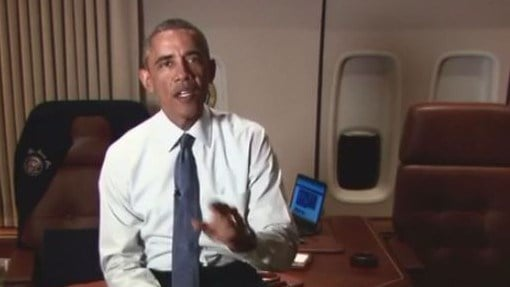 The President gave a preview in a videotaped message shot aboard Air Force One and posted on Facebook. (Source: Vine)