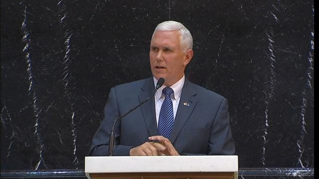 Governor Pence delivers the State of the State speech in Indianapolis on Tuesday Jan. 13, 2015.