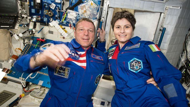 Expedition 42 crew members Terry Virts and Samantha Cristoforetti. (Courtesy: NASA)