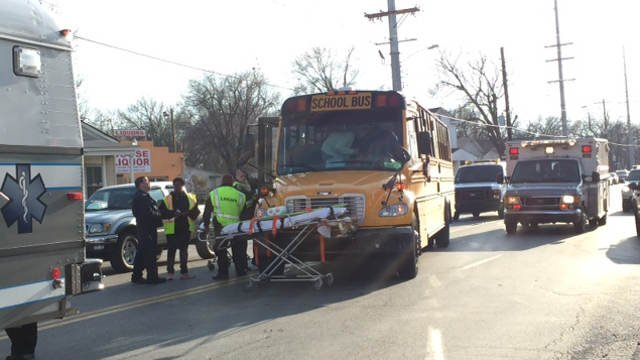 Injuries were reported the accident, but officials say students were being treated on scene.