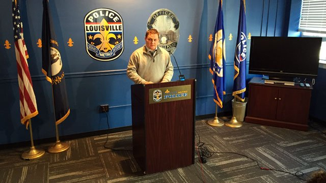 LMPD Lt. Todd Kessinger briefs reporters about deceased murder suspect George Tingler Jr. on Jan. 15, 2015.