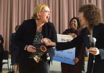 Allyson Vitato surprised with $25,000 Milken Award at Breckinridge-Franklin Elementary School on Jan. 15, 2015