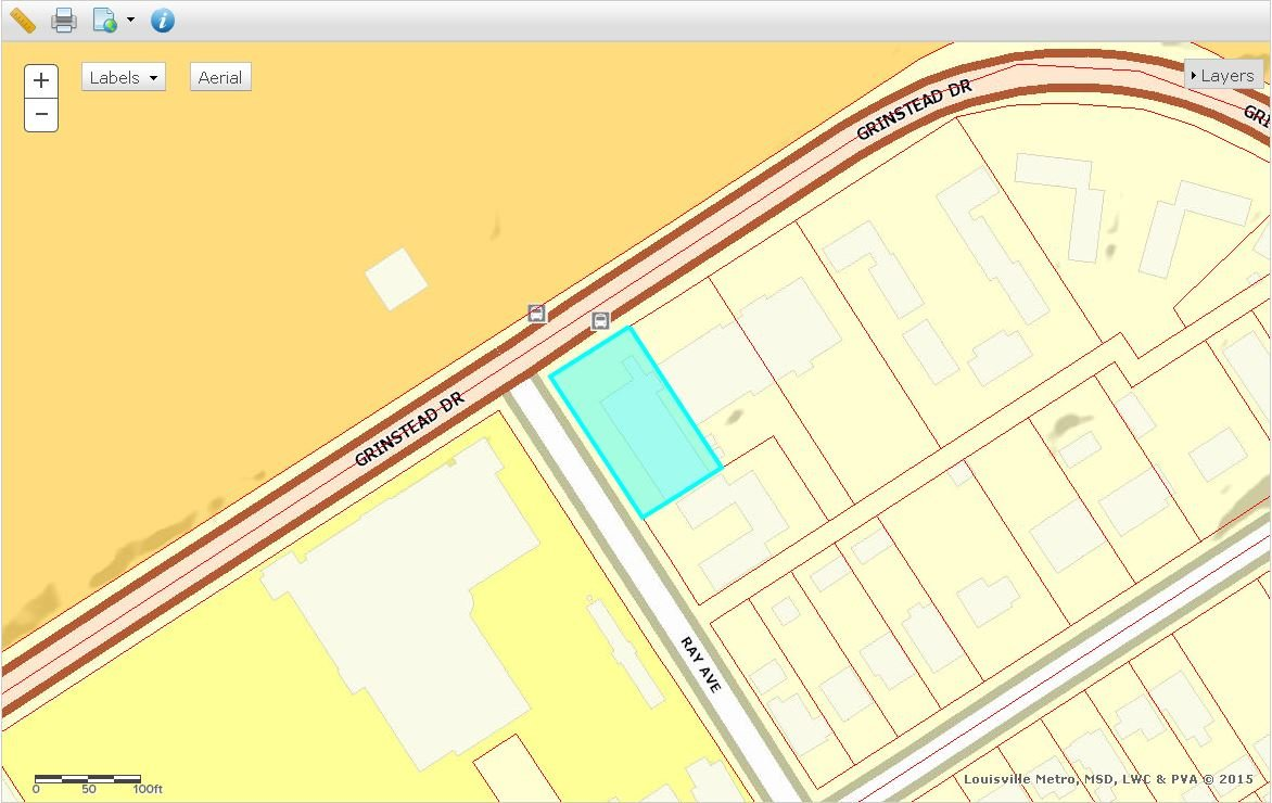 The highlighted land parcel is where the old Burger's Market sits. The two parcels northeast of the property are also owned by Louisville Collegiate School. (Source: Jefferson County PVA)