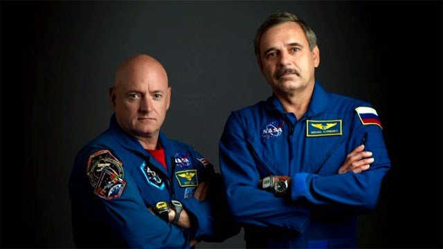 Astronaut Scott Kelly and cosmonaut Mikhail Korniyenko, both of whom are expected to stay aboard the International Space Station for a year. (Credit: NASA)