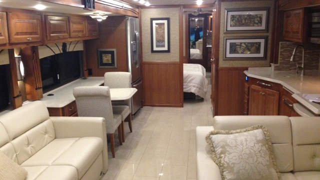 The inside of a luxury motor home.