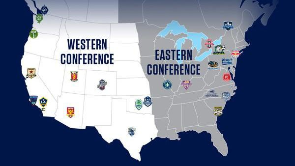 The USL-Pro conference alignment map for 2015. (Source: http://uslpro.uslsoccer.com/)