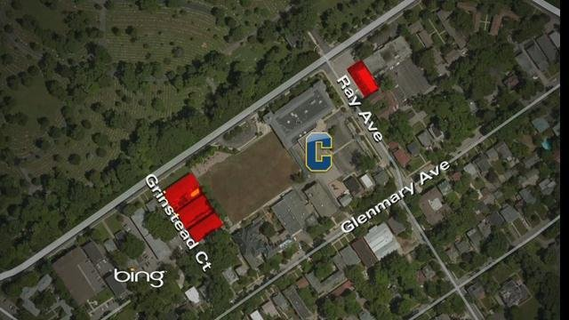 The properties highlighted in red show new acquisitions adjacent to Collegiate's campus.