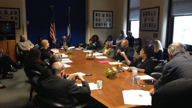 The Democratic Caucus gathered before the meeting to discuss supporting David Tandy prior to Metro Council vote on Thursday Jan. 22, 2015.