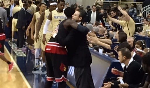 Rick Pitino and Montrezl Harrell share a pregame hug before Louisville's 80-68 win over Pittsburgh. (WDRB photo by Eric Crawford)