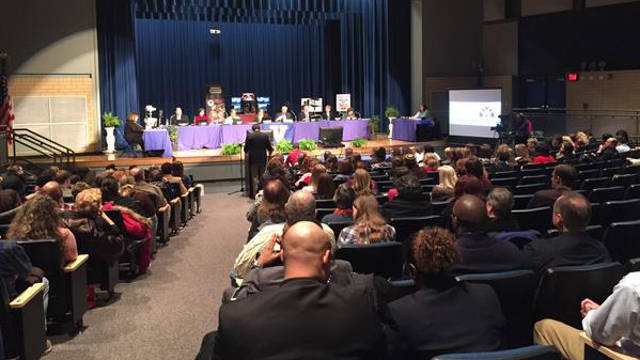 Board members gathered in the auditorium at Valley High School. They say meetings at schools are more accessible for nearby families and puts them face-to-face with their schools.