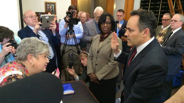 Matt Bevin filed the paperwork in Frankfort Tuesday afternoon. (Photo by Lawrence Smith)