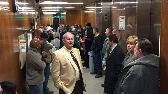 The overflow of people who want Pillsbury to stay in New Albany. Most are employees. The meeting room had a capacity of 130. (Photo by Ryan Cummings)