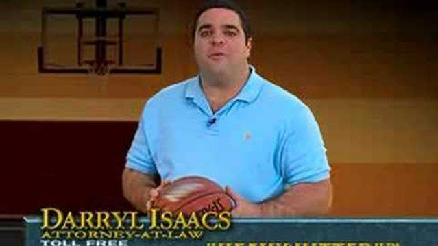 Darryl Isaacs in an ad for his law firm.