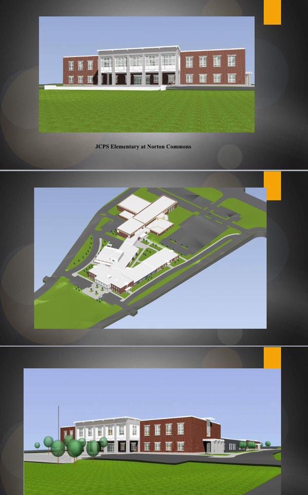 Renderings of the new school being built at Norton Commons.