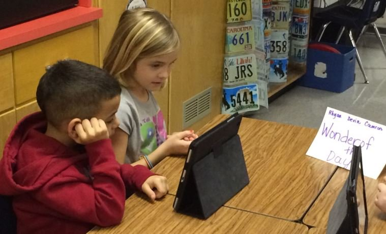 Second graders at Tully Elementary School explore Wonderopolis during class on Jan. 22, 2015.