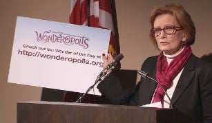 JCPS Superintendent Donna Hargens promotes Wonderopolis during a Feb. 18, 2015 press conference about snow days.