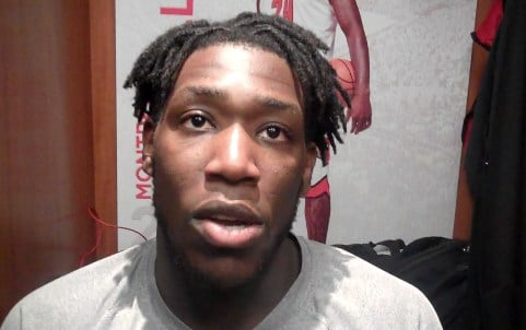 Montrezl Harrell was not happy about questions that he intentionally threw a basketball in the face of a Miami player Saturday.