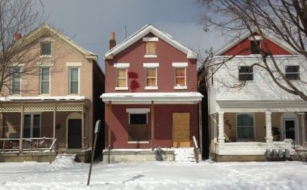 A boarded house on S. Third Street in Louisville